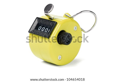 Yellow Hand Held Tally Counter on White Background