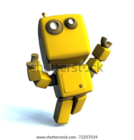 Yellow Happy 3D robot isolated on white background