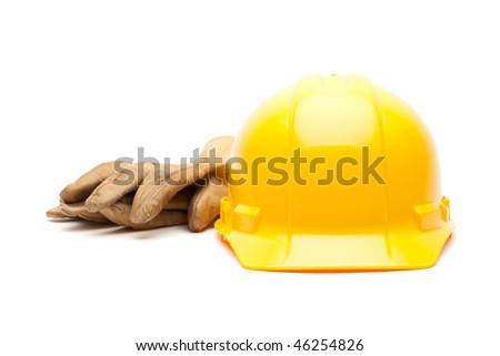 Yellow Hard Hat and Gloves Isolated on White.