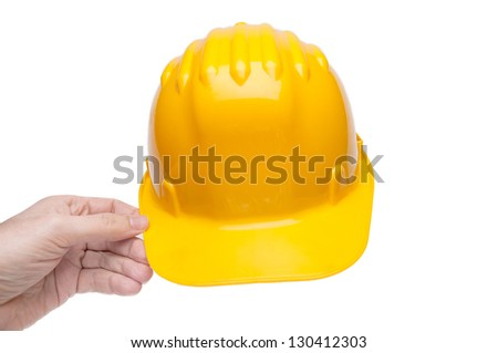 Yellow hard hat isolated on white