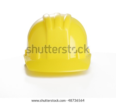 Yellow Hard plastic hat on the white background