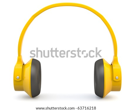 Yellow headphones isolated on white background
