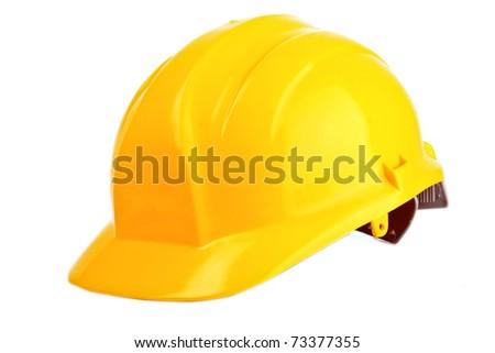 Yellow helmet isolated on white