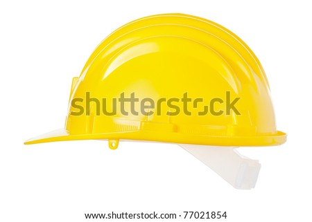 Yellow helmet isolated on white background, clipping path included