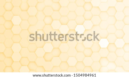 Yellow hexagonal grid in a random pattern. 3D computer generated image.