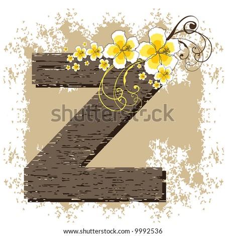 yellow hibiscus grunge vintage alphabet Z (raster) - stock photo