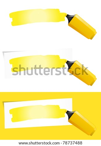 Yellow Highlighter/ Illustration of a yellow felt tip pen for highlighting your message in different background colors