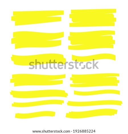 Yellow Highlighter Marker Strokes. Yellow watercolor hand drawn highlight Photo stock ©