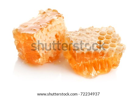 Yellow honeycomb close-up wax cell detail slice background