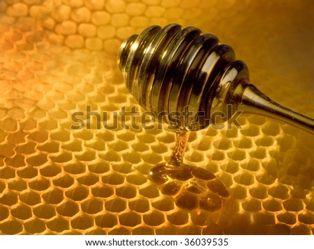 yellow honeycombs wax cell with dripper