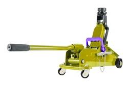 yellow hydraulic car jack isolated on white background, 2 ton capacity