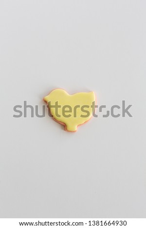 Yellow Iced Chick Shaped Sugar Cookie  #1381664930