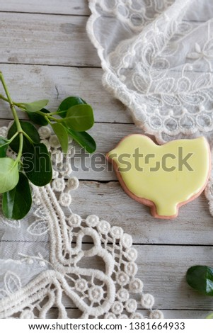 Yellow Iced Chick Shaped Sugar Cookie  #1381664933