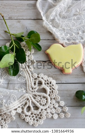 Yellow Iced Chick Shaped Sugar Cookie  #1381664936