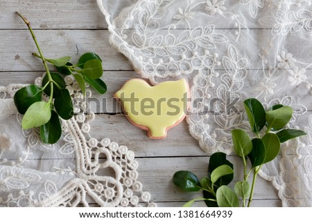 Yellow Iced Chick Shaped Sugar Cookie  #1381664939