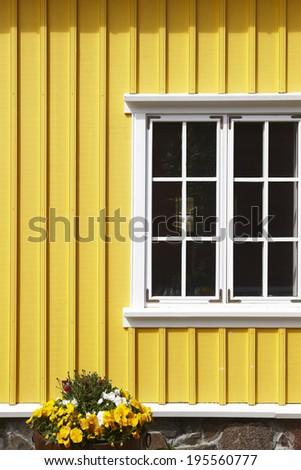 Yellow icelandic wooden traditional facade. Vertical