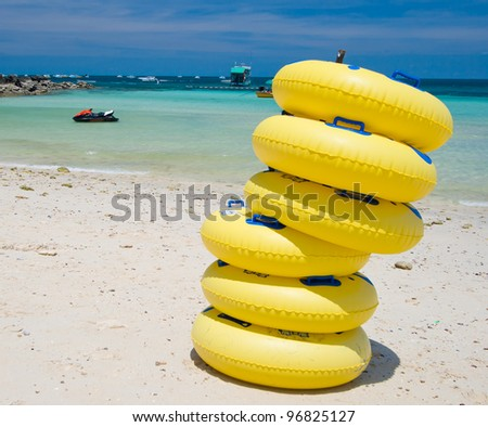 Yellow inflatable round tube