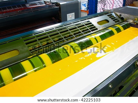 yellow ink in a offset printing press
