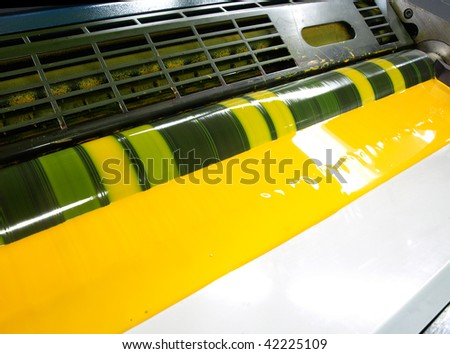 yellow ink in a printing press