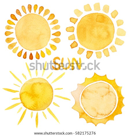 Yellow ink shiny sun set watercolor illustration with lettering isolated on white background