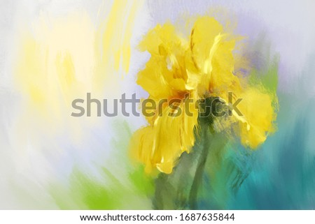 Yellow iris flower oil painting. Interior hand draw art. Spring flower.