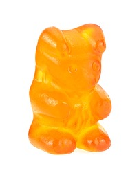 Yellow jelly gummy bear isolated on a white background. Jelly candy.