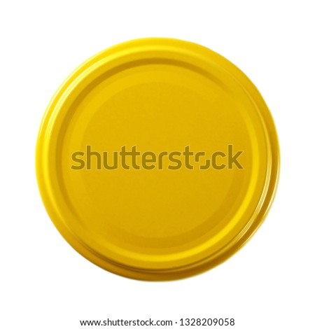 Yellow juice bottle lid isolated on white background, top view Stock foto ©