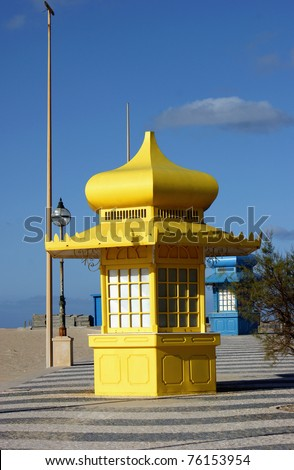 Yellow kiosk in Foz do Arelho, Portugal