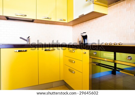 Modern Kitchens on Yellow Kitchen Interior In Modern Flat Stock Photo 29645602