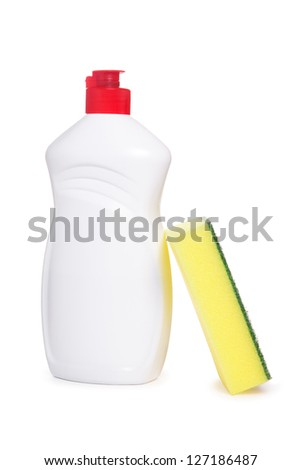 Yellow kitchen sponge and bottle of dish washing liquid isolated on white - stock photo