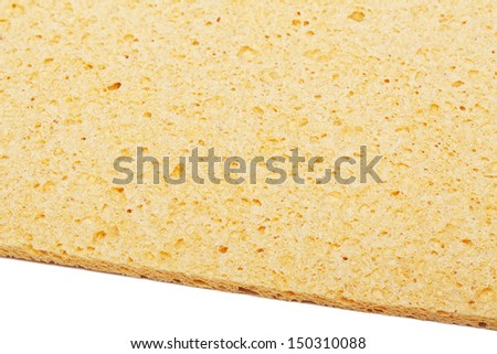 yellow kitchen sponge is isolated on a white #150310088
