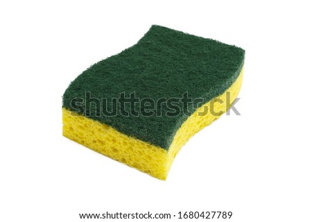 yellow kitchen sponge isolated against on white background in different poses. Sponge isolated on white background. Scrub yellow sponge design, close up Cleaning sponge. Foto stock ©