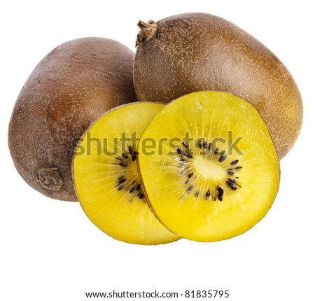 yellow  kiwi fruit isolated on a white background
