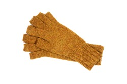 Yellow knitted gloves with open fingers isolated on white background. Handwork. View from above.