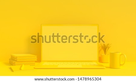 Yellow laptop mock-up for your text and background. Yellow minimal idea concept, 3d render. stock photo