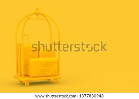 Yellow Large Polycarbonate Suitcases in Yellow Luxury Hotel Luggage Trolley Cart on a yellow background. 3d Rendering