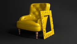 Yellow leather armchair with yellow carved frame for a picture or photo on black background side view. Creative minimalistic interior, stylish fashionable leather armchair, single piece of furniture