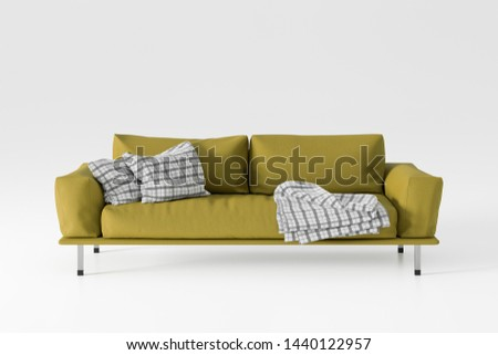 Yellow leather couch isolated on white background. 3d illustration #1440122957