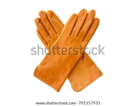 Yellow  leather gloves isolated on white background.