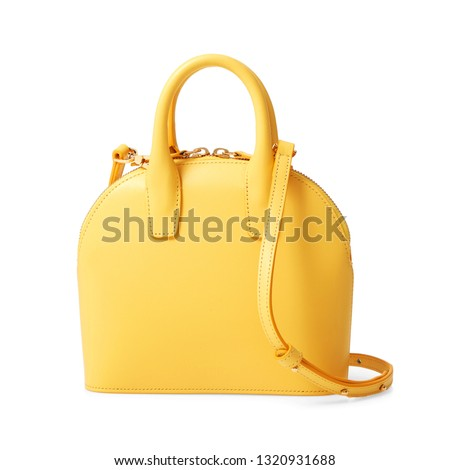 Yellow Leather Women Top Handle Mini Bag Isolated on White Background. Front View of Lady Shopping Bag. Women's Top Handle Shopper Tote Bag Padlock