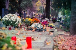 yellow leaves and burning candles during christian All Saints Day event lying in the tomb in the cemetery