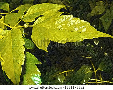 Yellow leaves on a dark background in the style of oil painting Fauvism
