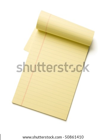 Yellow legal pad isolated on white background.