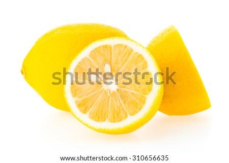 yellow lemon fruit isolated on...