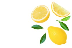 Yellow lemon lime fruit with slice and green leaves isolated on white background. Top view. Flat lay. Copyspace for text.