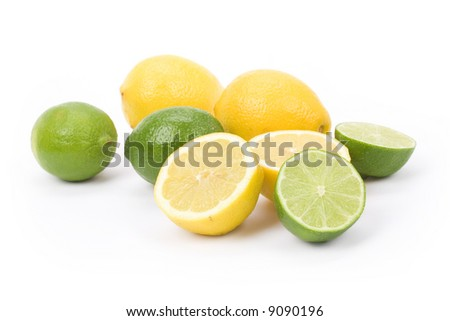 Yellow Lemons and green lime with white background