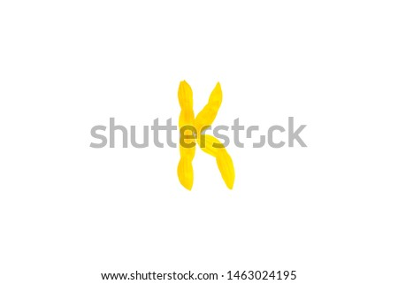 Yellow letter K from sunflower petals fonts,  alphabet element, beauty decorative  font isolate of a white background close-up #1463024195