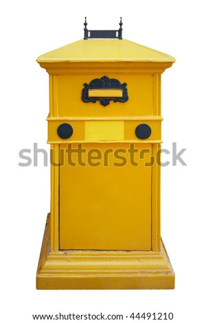 Yellow letter post box. Isolated on white, with clipping path.