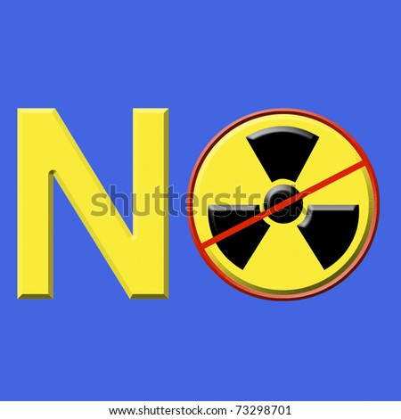 Yellow letters against nuclear power plants, isolated with clipping path
