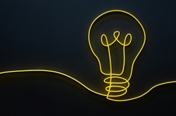 Yellow light bulb shape decoration design made from led light line on a dark background
